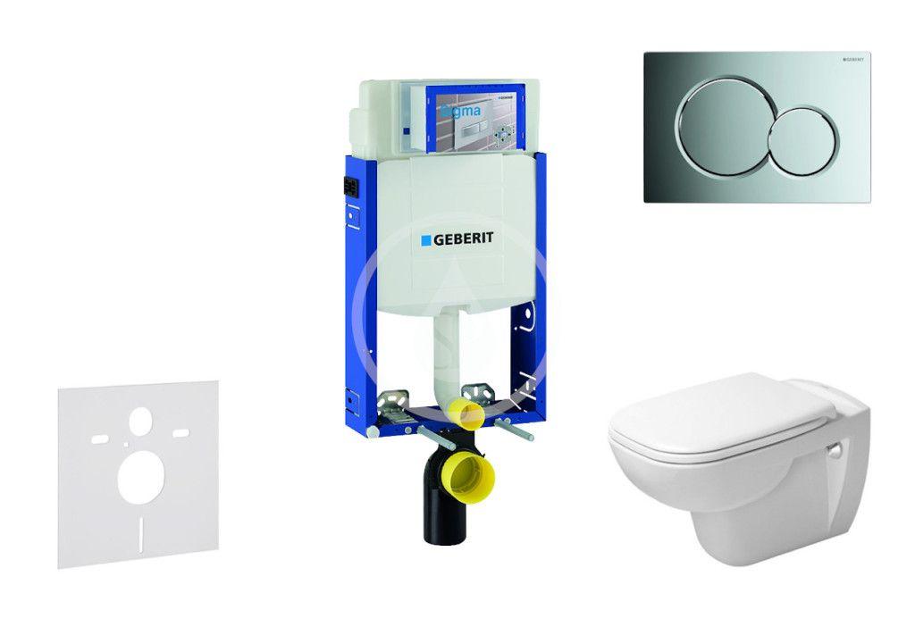 GEBERIT - Kombifix Modul na závesné WC s tlačidlom Sigma01, lesklý chróm + Duravit D-Code - WC a doska, Rimless, SoftClose 110.302.00.5 NH2