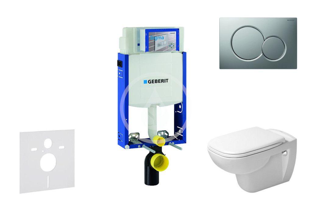 GEBERIT - Kombifix Modul na závesné WC s tlačidlom Sigma01, matný chróm + Duravit D-Code - WC a doska, Rimless, SoftClose 110.302.00.5 NH3