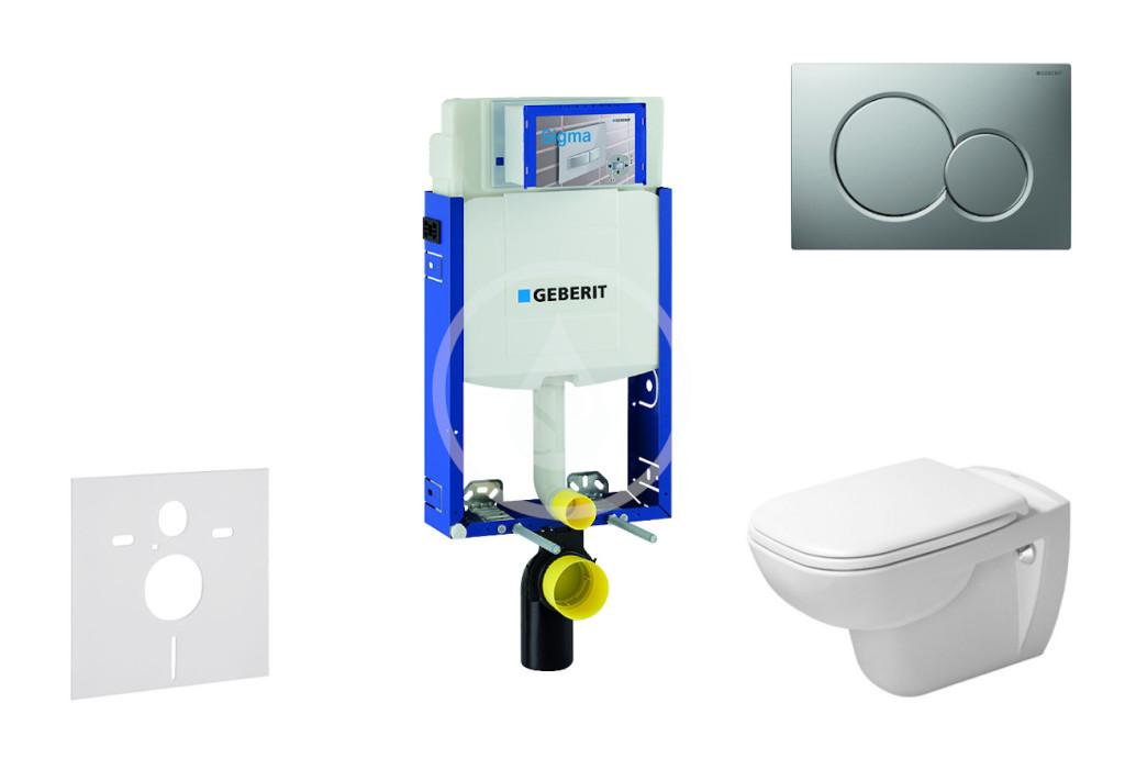 GEBERIT - Kombifix Modul pro závěsné WC s tlačítkem Sigma01, matný chrom + Duravit D-Code - WC a sedátko, Rimless, SoftClose (110.302.00.5 NH3)