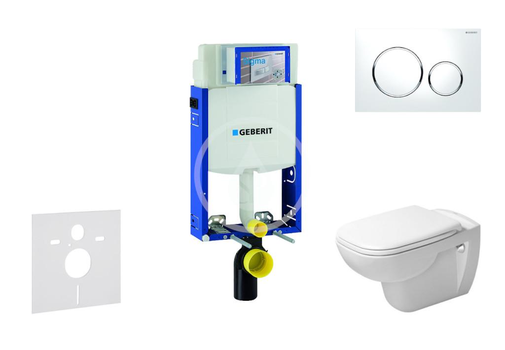 GEBERIT - Kombifix Modul pro závěsné WC s tlačítkem Sigma20, bílá/lesklý chrom + Duravit D-Code - WC a sedátko, Rimless, SoftClose (110.302.00.5 NH4)