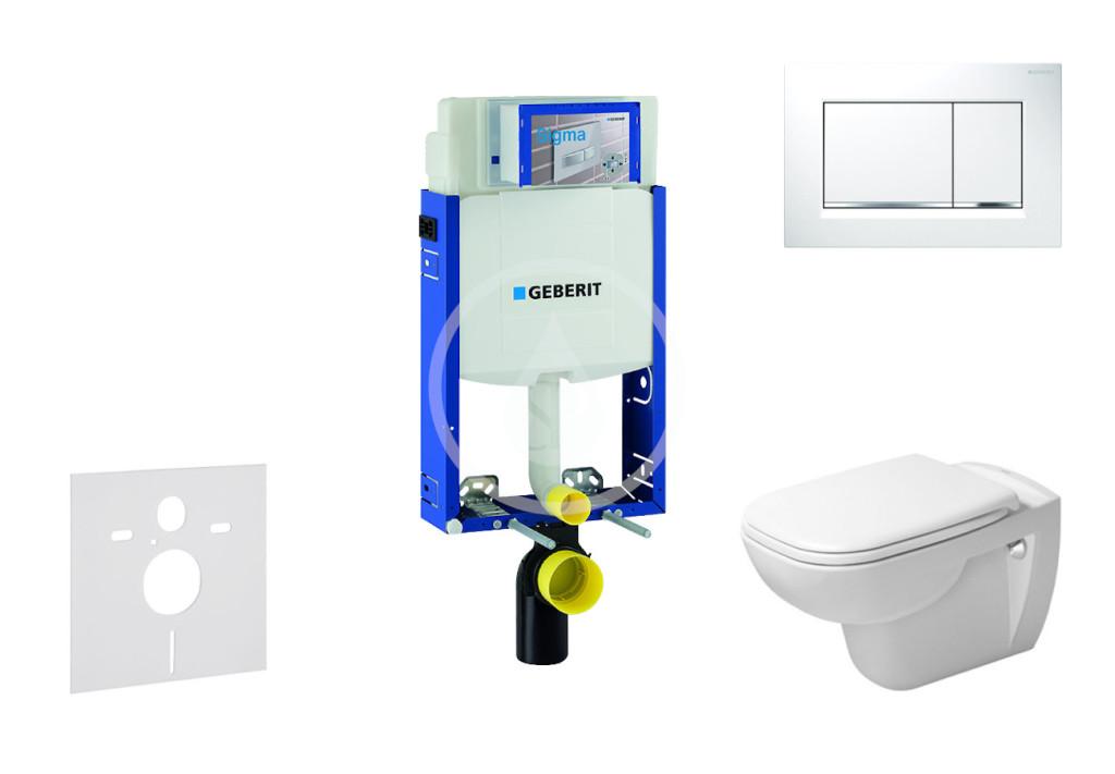 GEBERIT - Kombifix Modul pro závěsné WC s tlačítkem Sigma30, bílá/lesklý chrom + Duravit D-Code - WC a sedátko, Rimless, SoftClose (110.302.00.5 NH5)