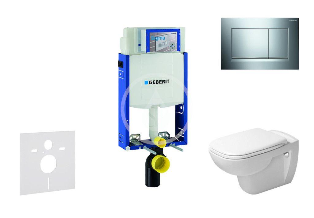 GEBERIT - Kombifix Modul na závesné WC s tlačidlom Sigma30, lesklý chróm/chróm mat + Duravit D-Code - WC a doska, Rimless, SoftClose 110.302.00.5 NH6