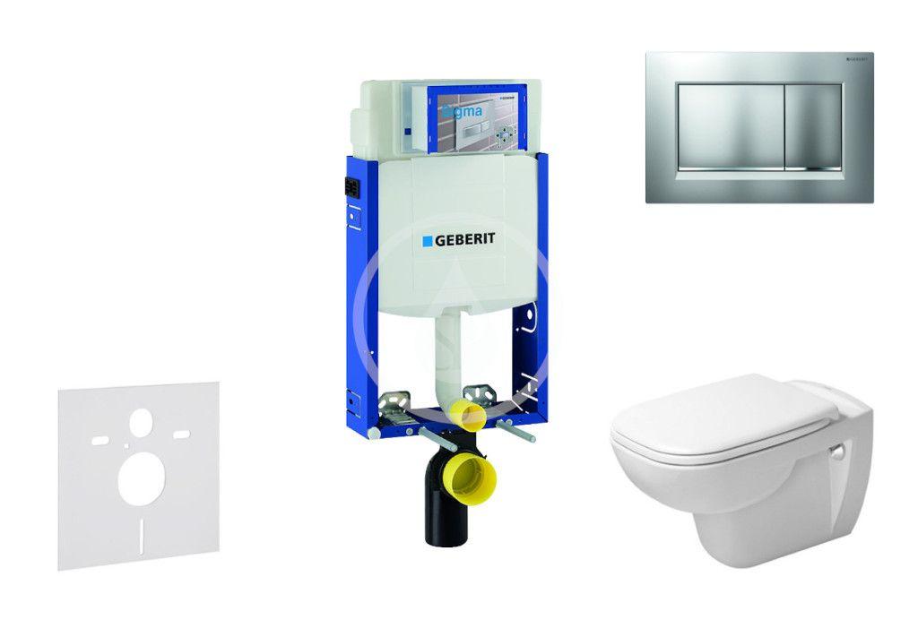 GEBERIT - Kombifix Modul na závesné WC s tlačidlom Sigma30, matný chróm/chróm + Duravit D-Code - WC a doska, Rimless, SoftClose 110.302.00.5 NH7