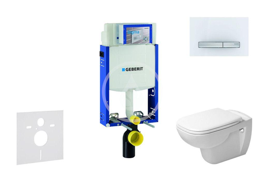 GEBERIT - Kombifix Modul na závesné WC s tlačidlom Sigma50, alpská biela + Duravit D-Code - WC a doska, Rimless, SoftClose 110.302.00.5 NH8