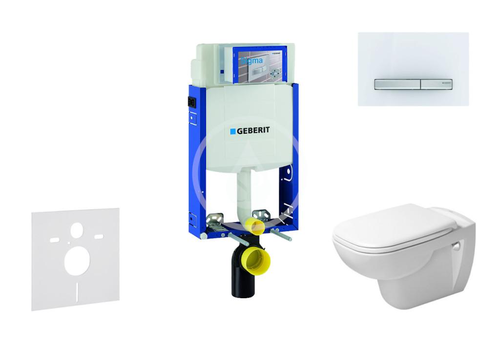 GEBERIT - Kombifix Modul pro závěsné WC s tlačítkem Sigma50, alpská bílá + Duravit D-Code - WC a sedátko, Rimless, SoftClose (110.302.00.5 NH8)