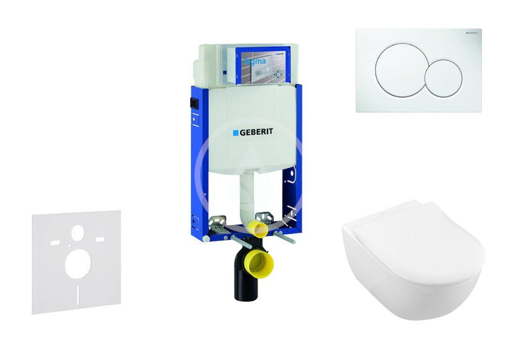 GEBERIT - Kombifix Modul na závesné WC s tlačidlom Sigma01, alpská biela + Villeroy Boch - WC a doska, DirectFlush, SoftClose, CeramicPlus 110.302.00.5 NI1