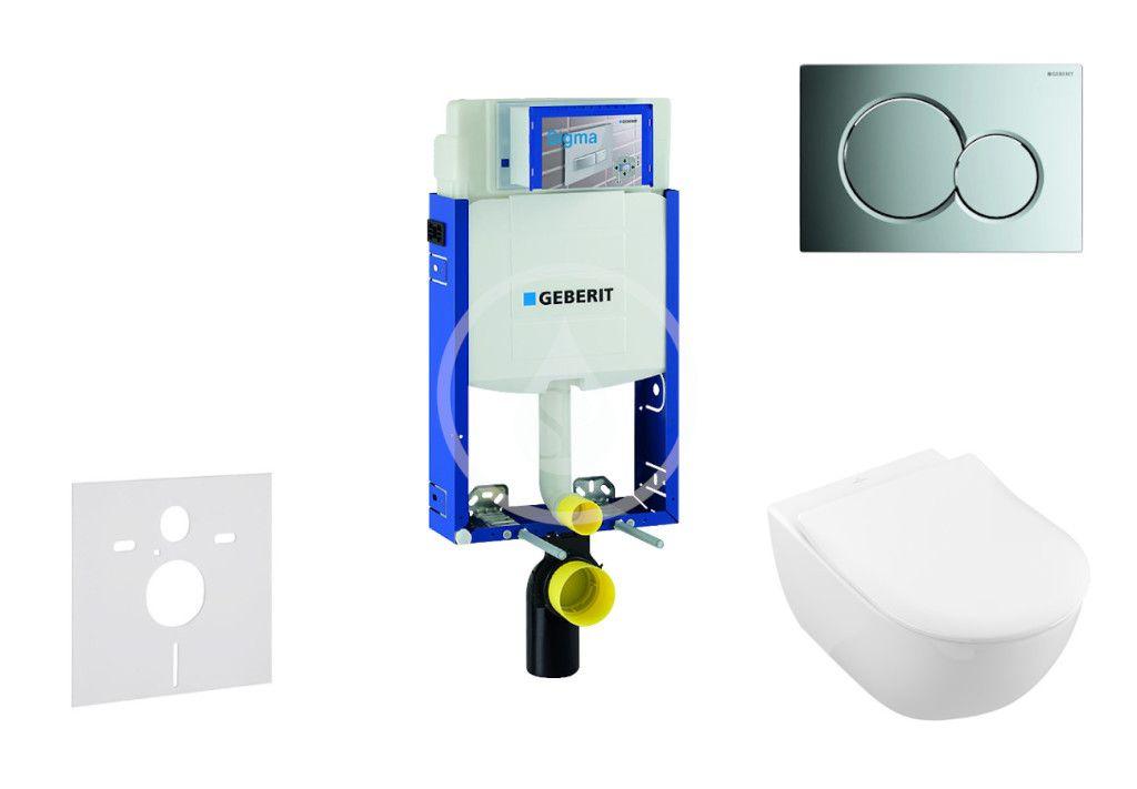 GEBERIT - Kombifix Modul na závesné WC s tlačidlom Sigma01, lesklý chróm + Villeroy Boch - WC a doska, DirectFlush, SoftClose, CeramicPlus 110.302.00.5 NI2