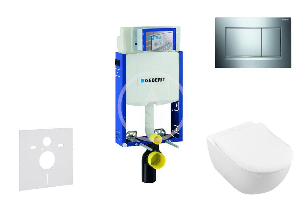 GEBERIT - Kombifix Modul na závesné WC s tlačidlom Sigma30, lesklý chróm/chróm mat + Villeroy Boch - WC a doska, DirectFlush, SoftClose, CeramicPlus 110.302.00.5 NI6
