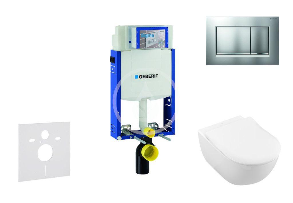 GEBERIT - Kombifix Modul na závesné WC s tlačidlom Sigma30, matný chróm/chróm + Villeroy Boch - WC a doska, DirectFlush, SoftClose, CeramicPlus 110.302.00.5 NI7