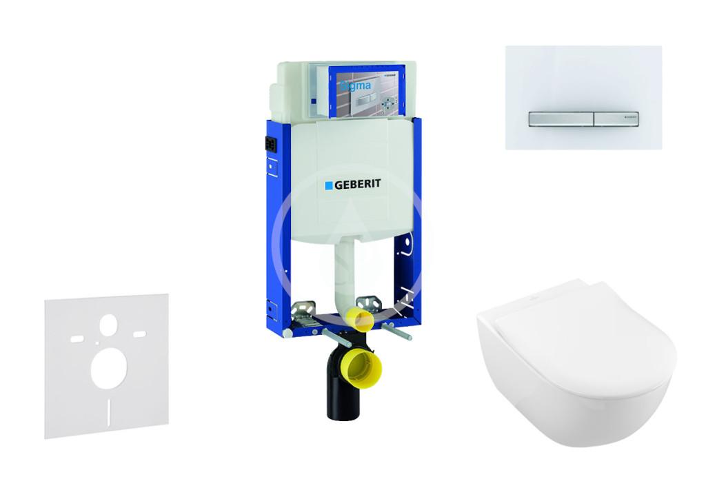 GEBERIT - Kombifix Modul na závesné WC s tlačidlom Sigma50, alpská biela + Villeroy Boch - WC a doska, DirectFlush, SoftClose, CeramicPlus 110.302.00.5 NI8
