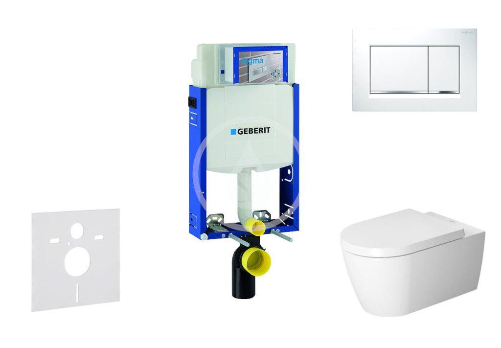 GEBERIT - Kombifix Modul na závesné WC s tlačidlom Sigma30, biela/lesklý chróm + Duravit ME by Starck - WC a doska, Rimless, SoftClose 110.302.00.5 NM5