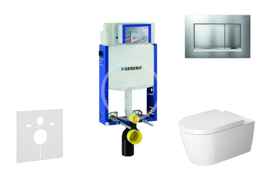 GEBERIT - Kombifix Modul na závesné WC s tlačidlom Sigma30, matný chróm/chróm + Duravit ME by Starck - WC a doska, Rimless, SoftClose 110.302.00.5 NM7