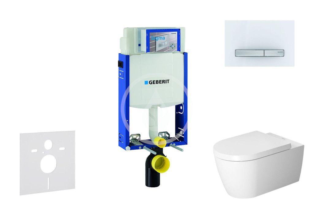 GEBERIT - Kombifix Modul na závesné WC s tlačidlom Sigma50, alpská biela + Duravit ME by Starck - WC a doska, Rimless, SoftClose 110.302.00.5 NM8