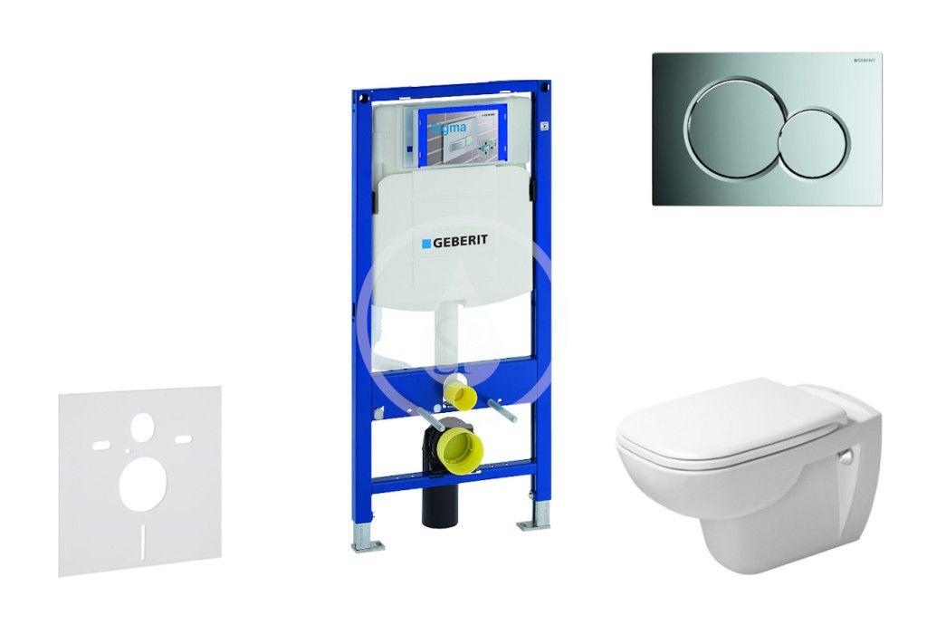 GEBERIT - Duofix Modul na závesné WC s tlačidlom Sigma01, lesklý chróm + Duravit D-Code - WC a doska, Rimless, SoftClose 111.300.00.5 NH2