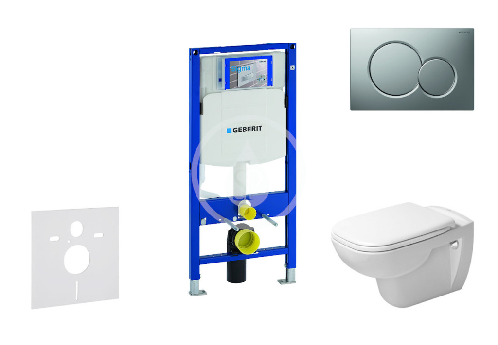 GEBERIT - Duofix Modul pro závěsné WC s tlačítkem Sigma01, matný chrom + Duravit D-Code - WC a sedátko, Rimless, SoftClose (111.300.00.5 NH3)
