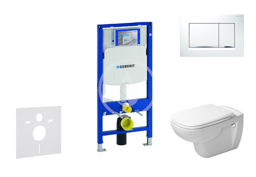GEBERIT - Duofix Modul na závesné WC s tlačidlom Sigma30, biela/lesklý chróm + Duravit D-Code - WC a doska, Rimless, SoftClose 111.300.00.5 NH5