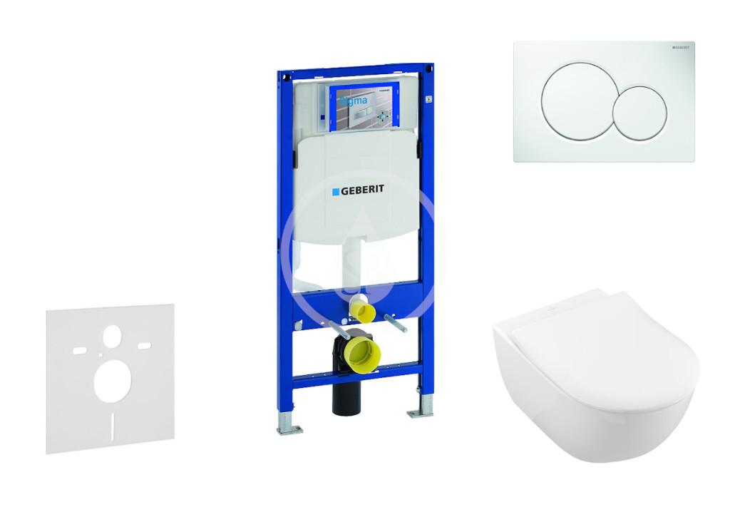 GEBERIT - Duofix Modul pro závěsné WC s tlačítkem Sigma01, alpská bílá + Villeroy Boch - WC a sedátko, DirectFlush, SoftClose, CeramicPlus (111.300.00.5 NI1)