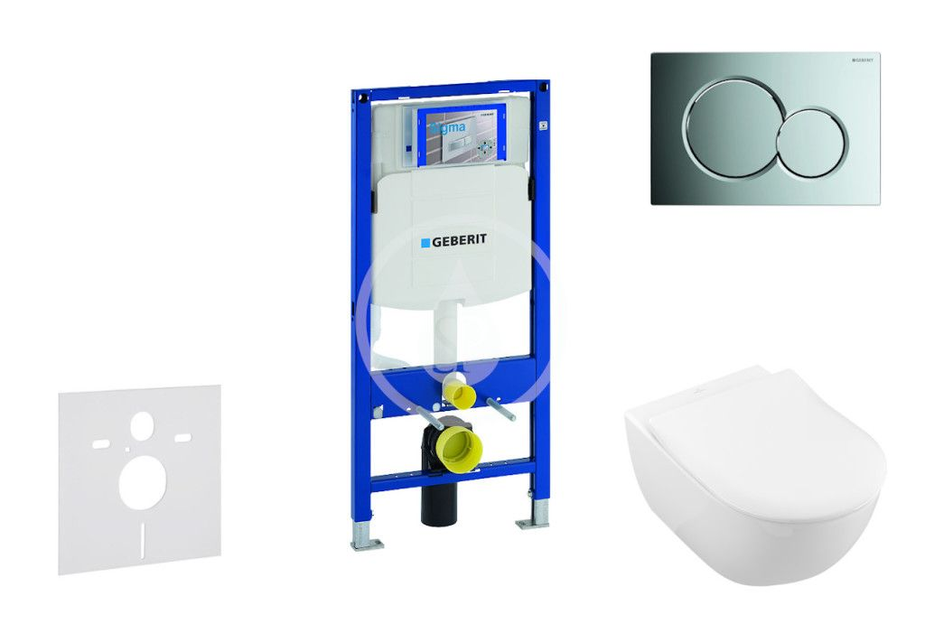 GEBERIT - Duofix Modul na závesné WC s tlačidlom Sigma01, lesklý chróm + Villeroy Boch - WC a doska, DirectFlush, SoftClose, CeramicPlus 111.300.00.5 NI2