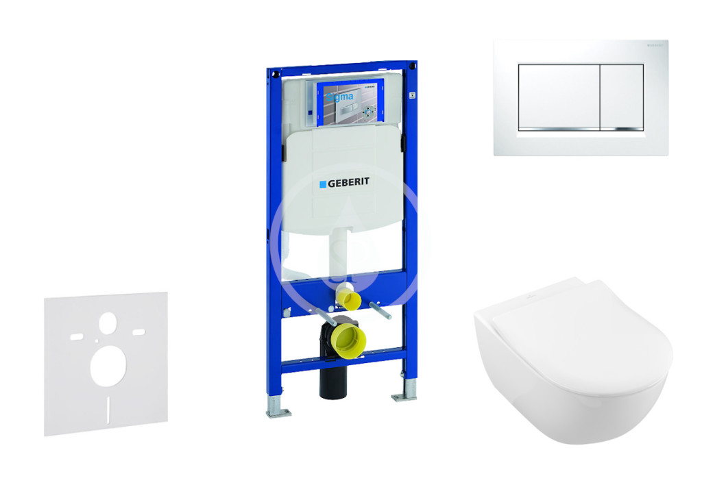 GEBERIT - Duofix Modul pro závěsné WC s tlačítkem Sigma30, bílá/lesklý chrom + Villeroy Boch - WC a sedátko, DirectFlush, SoftClose, CeramicPlus (111.300.00.5 NI5)