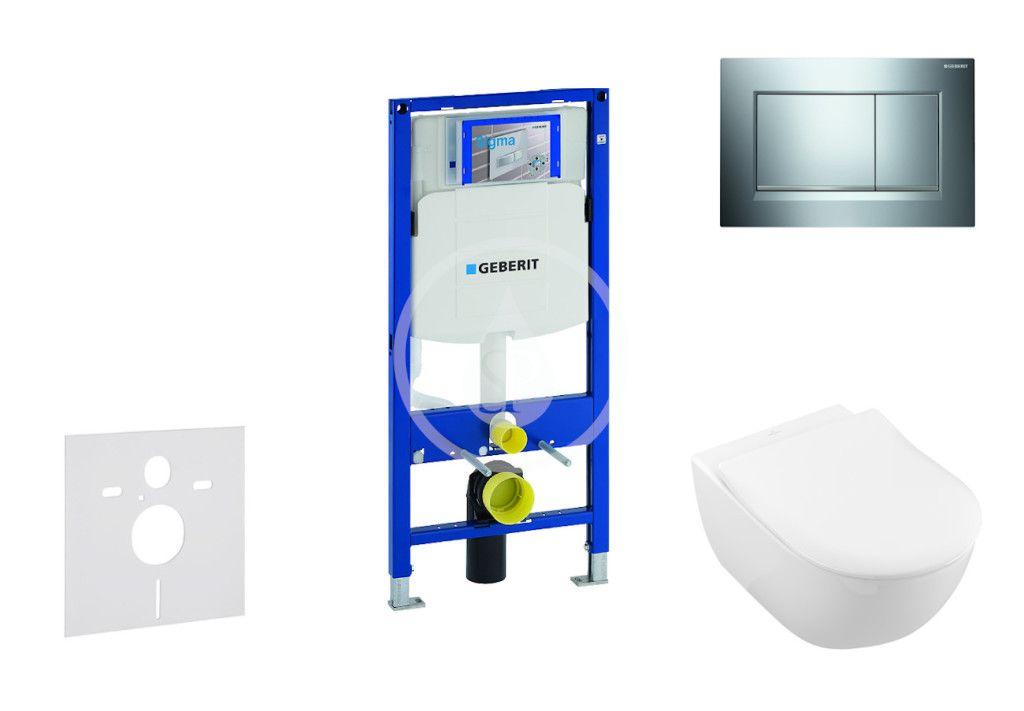 GEBERIT - Duofix Modul na závesné WC s tlačidlom Sigma30, lesklý chróm/chróm mat + Villeroy Boch - WC a doska, DirectFlush, SoftClose, CeramicPlus 111.300.00.5 NI6
