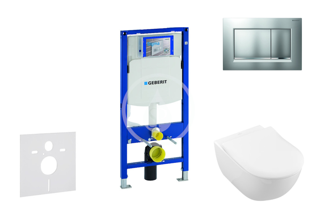 GEBERIT - Duofix Modul pro závěsné WC s tlačítkem Sigma30, matný chrom/chrom + Villeroy Boch - WC a sedátko, DirectFlush, SoftClose, CeramicPlus (111.300.00.5 NI7)
