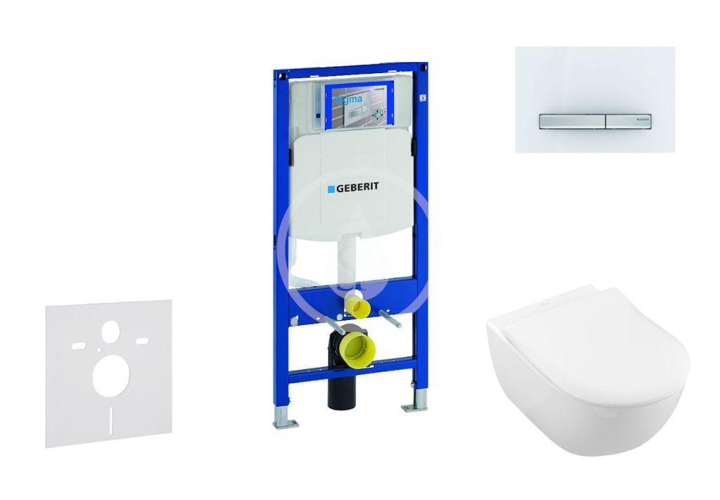 GEBERIT - Duofix Modul na závesné WC s tlačidlom Sigma50, alpská biela + Villeroy Boch - WC a doska, DirectFlush, SoftClose, CeramicPlus 111.300.00.5 NI8
