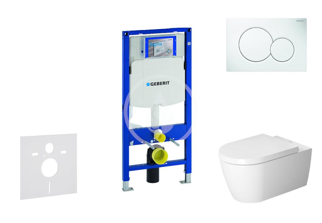 GEBERIT - Duofix Modul pro závěsné WC s tlačítkem Sigma01, alpská bílá + Duravit ME by Starck - WC a sedátko, Rimless, SoftClose (111.300.00.5 NM1)