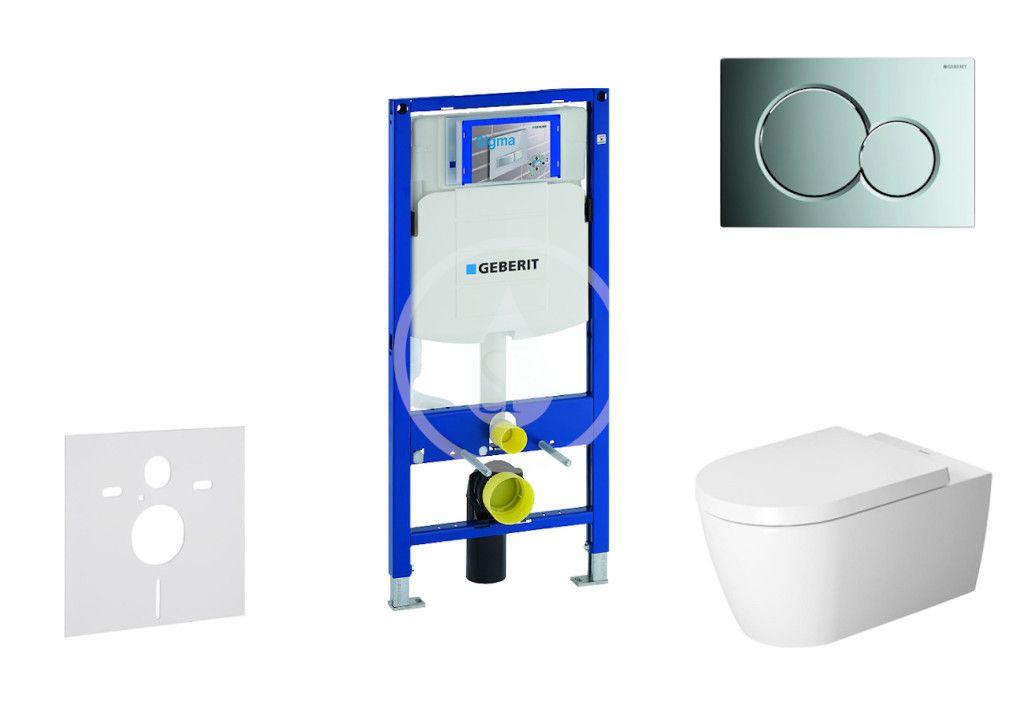 GEBERIT - Duofix Modul na závesné WC s tlačidlom Sigma01, lesklý chróm + Duravit ME by Starck - WC a doska, Rimless, SoftClose 111.300.00.5 NM2
