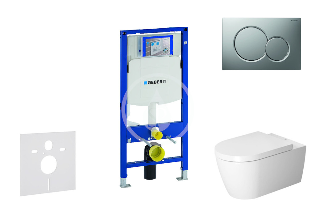 GEBERIT - Duofix Modul pro závěsné WC s tlačítkem Sigma01, matný chrom + Duravit ME by Starck - WC a sedátko, Rimless, SoftClose (111.300.00.5 NM3)