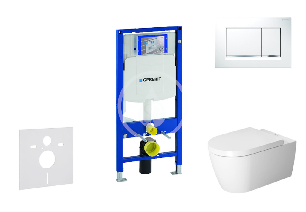 GEBERIT - Duofix Modul pro závěsné WC s tlačítkem Sigma30, bílá/lesklý chrom + Duravit ME by Starck - WC a sedátko, Rimless, SoftClose (111.300.00.5 NM5)