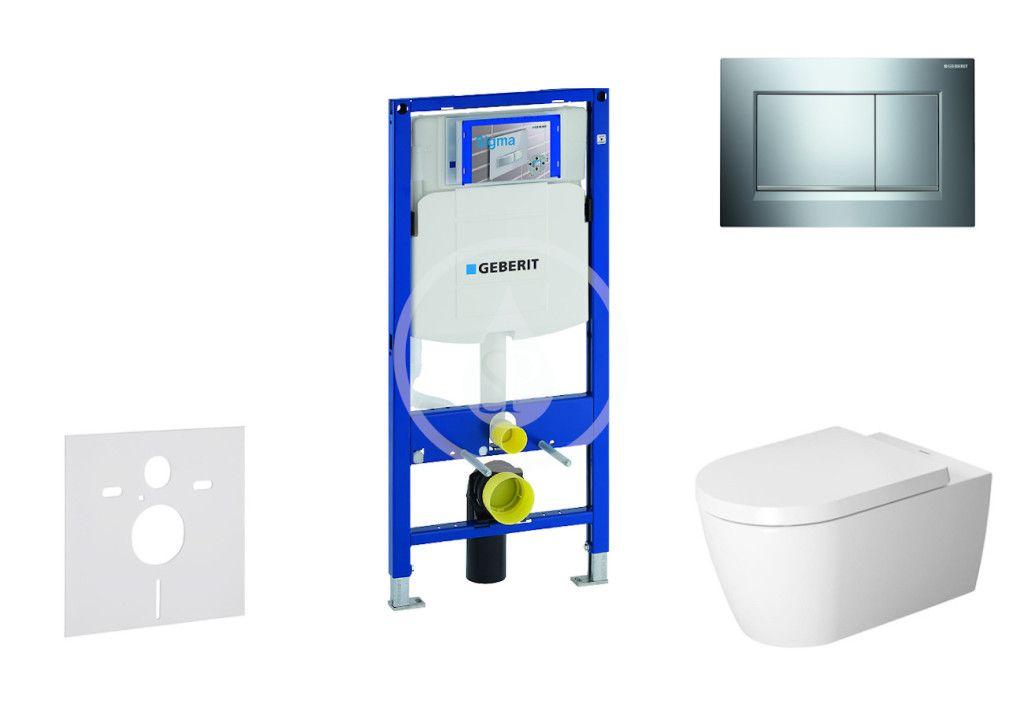 GEBERIT - Duofix Modul na závesné WC s tlačidlom Sigma30, lesklý chróm/chróm mat - Duravit ME by Starck - WC a doska, Rimless, SoftClose 111.300.00.5 NM6