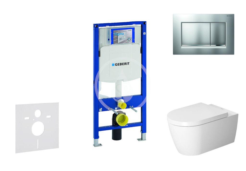 GEBERIT - Duofix Modul na závesné WC s tlačidlom Sigma30, matný chróm/chróm + Duravit ME by Starck - WC a doska, Rimless, SoftClose 111.300.00.5 NM7