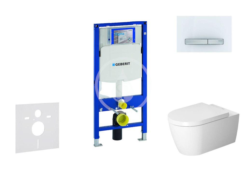 GEBERIT - Duofix Modul na závesné WC s tlačidlom Sigma50, alpská biela + Duravit ME by Starck - WC a doska, Rimless, SoftClose 111.300.00.5 NM8