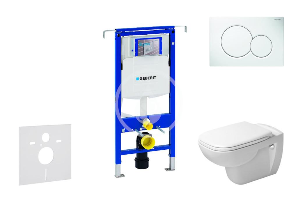 GEBERIT - Duofix Modul na závesné WC s tlačidlom Sigma01, alpská biela + Duravit D-Code - WC a doska, Rimless, SoftClose 111.355.00.5 NH1