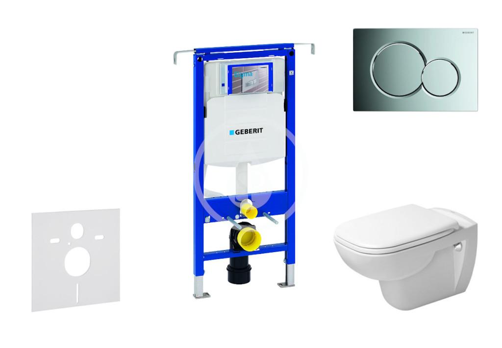 GEBERIT - Duofix Modul na závesné WC s tlačidlom Sigma01, lesklý chróm + Duravit D-Code - WC a doska, Rimless, SoftClose 111.355.00.5 NH2