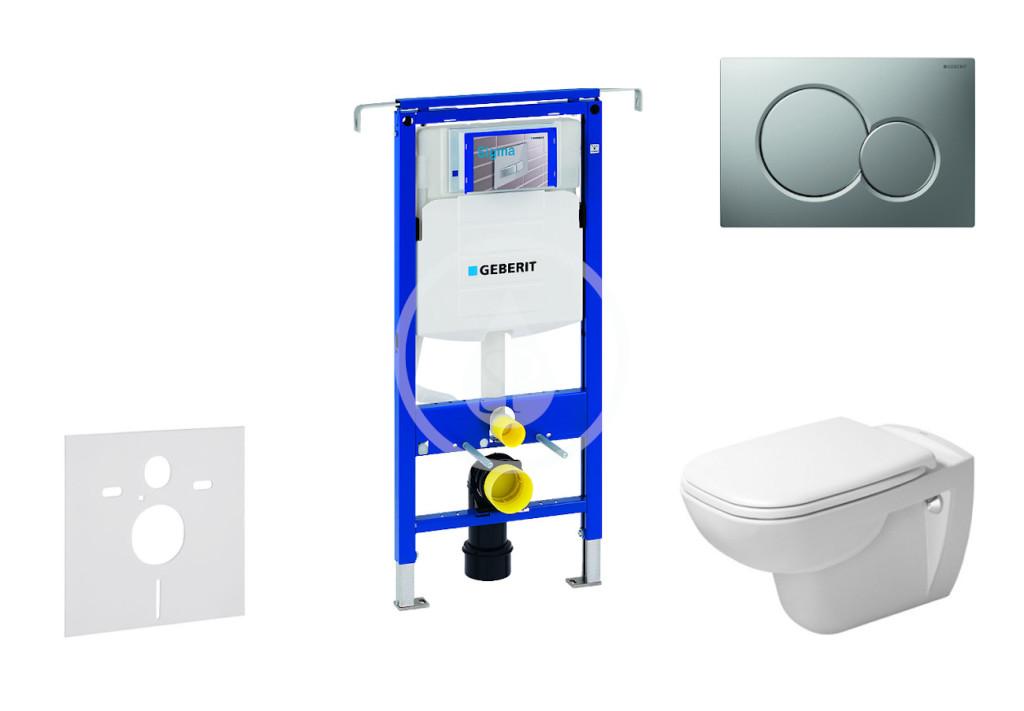 GEBERIT - Duofix Modul na závesné WC s tlačidlom Sigma01, matný chróm + Duravit D-Code - WC a doska, Rimless, SoftClose 111.355.00.5 NH3