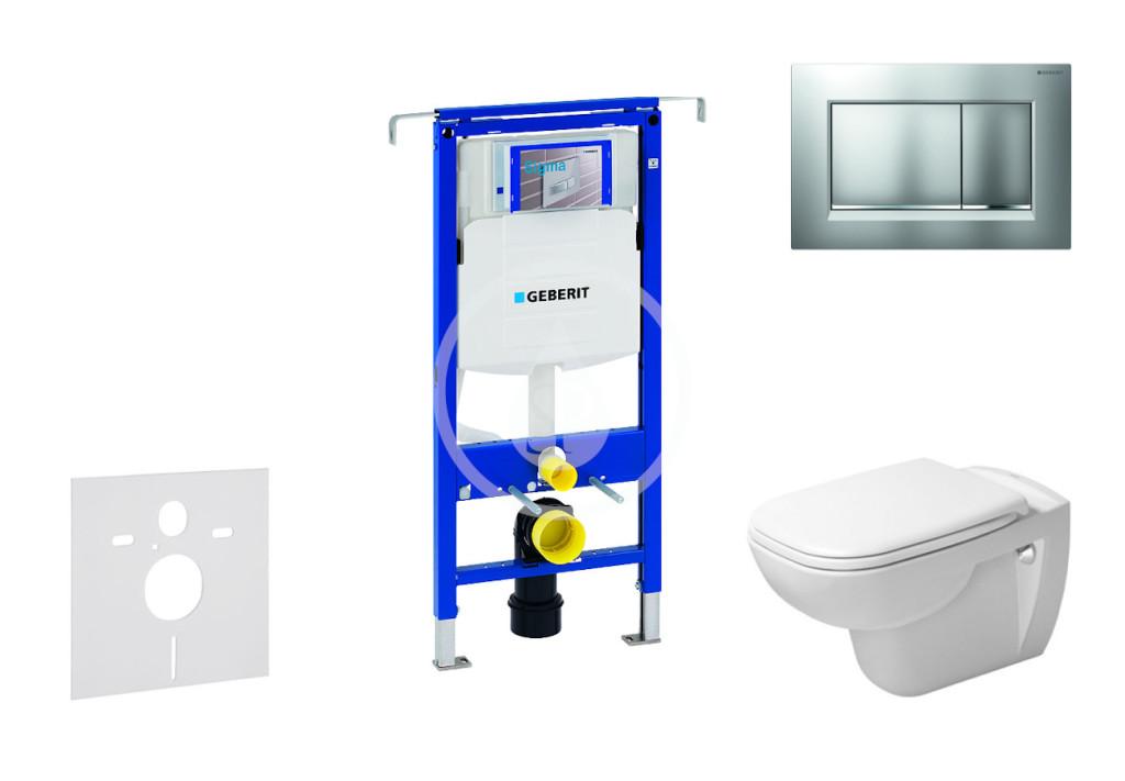 GEBERIT - Duofix Modul na závesné WC s tlačidlom Sigma30, matný chróm/chróm + Duravit D-Code - WC a doska, Rimless, SoftClose 111.355.00.5 NH7