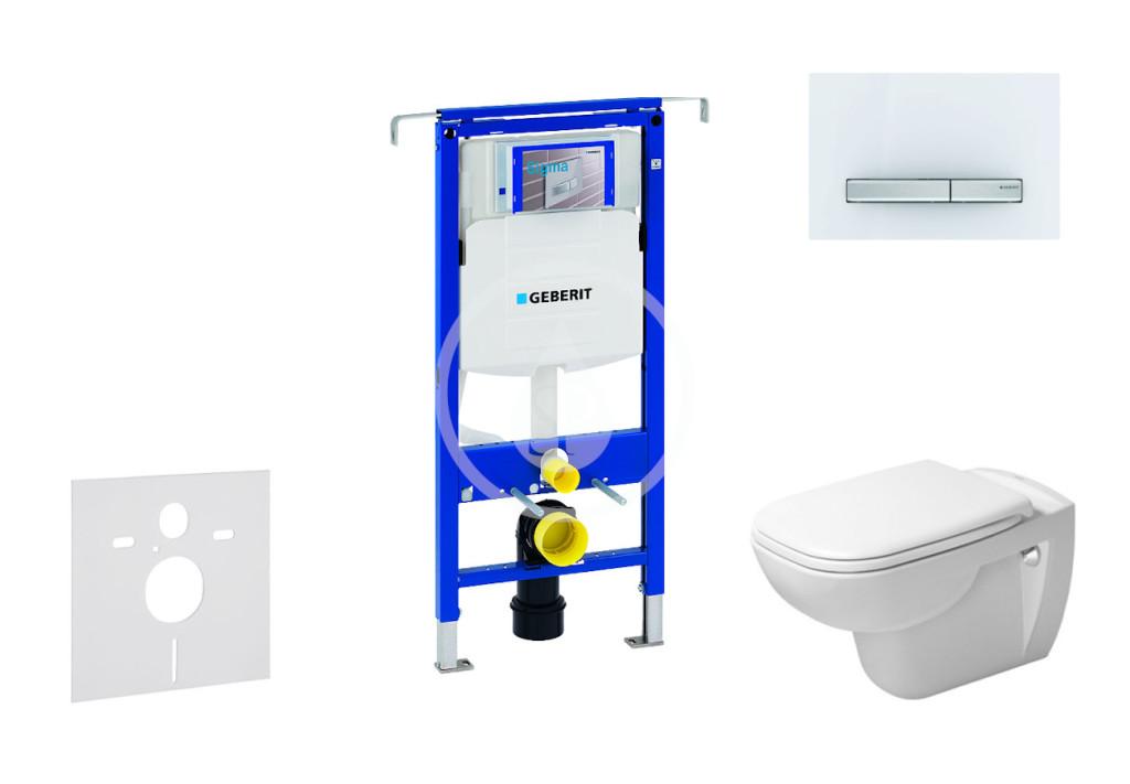 GEBERIT - Duofix Modul na závesné WC s tlačidlom Sigma50, alpská biela + Duravit D-Code - WC a doska, Rimless, SoftClose 111.355.00.5 NH8