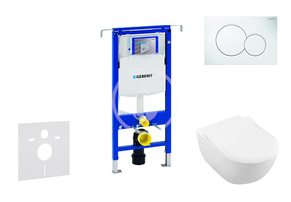 GEBERIT - Duofix Modul na závesné WC s tlačidlom Sigma01, alpská biela + Villeroy Boch - WC a doska, DirectFlush, SoftClose, CeramicPlus 111.355.00.5 NI1
