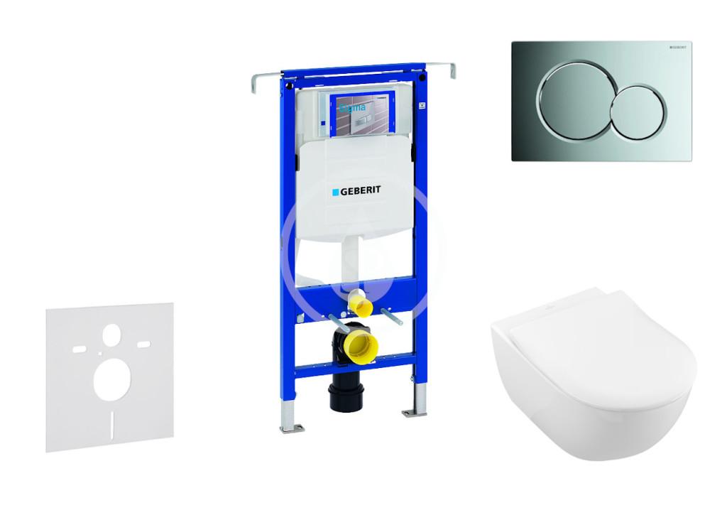 GEBERIT - Duofix Modul na závesné WC s tlačidlom Sigma01, lesklý chróm + Villeroy Boch - WC a doska, DirectFlush, SoftClose, CeramicPlus 111.355.00.5 NI2