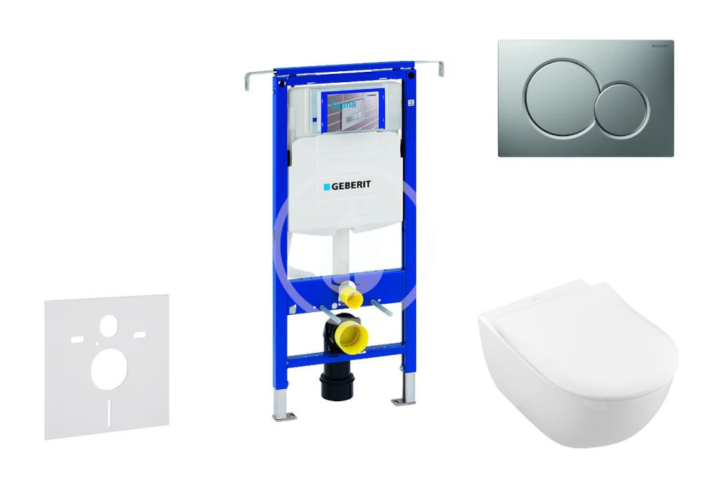 GEBERIT - Duofix Modul na závesné WC s tlačidlom Sigma01, matný chróm + Villeroy Boch - WC a doska, DirectFlush, SoftClose, CeramicPlus 111.355.00.5 NI3