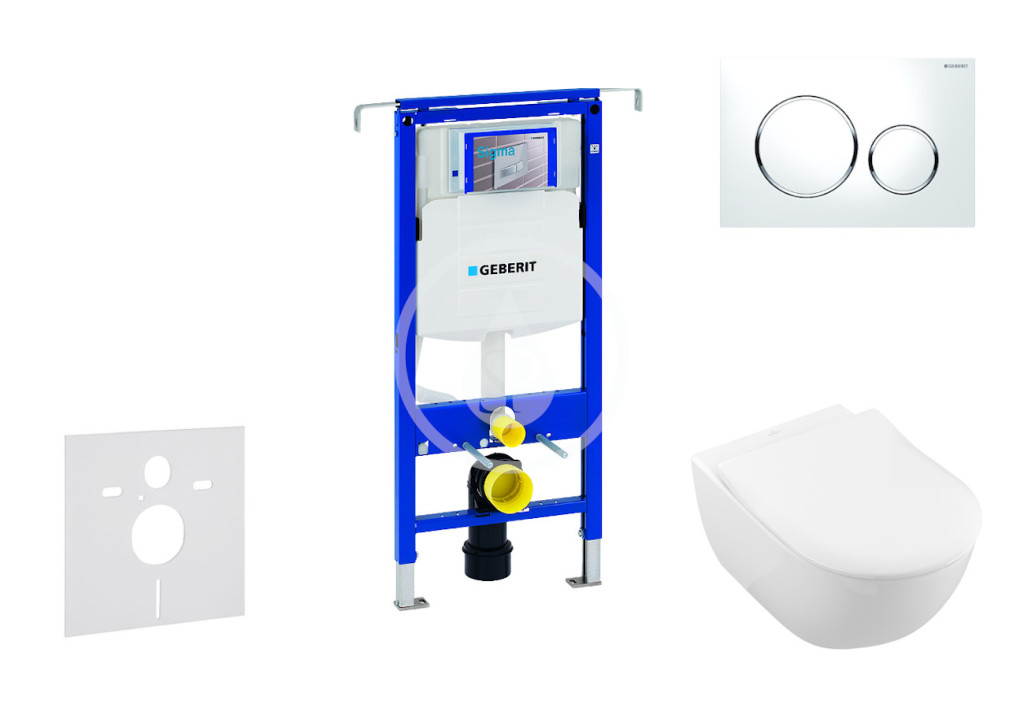GEBERIT - Duofix Modul pro závěsné WC s tlačítkem Sigma20, bílá/lesklý chrom + Villeroy Boch - WC a sedátko, DirectFlush, SoftClose, CeramicPlus (111.355.00.5 NI4)