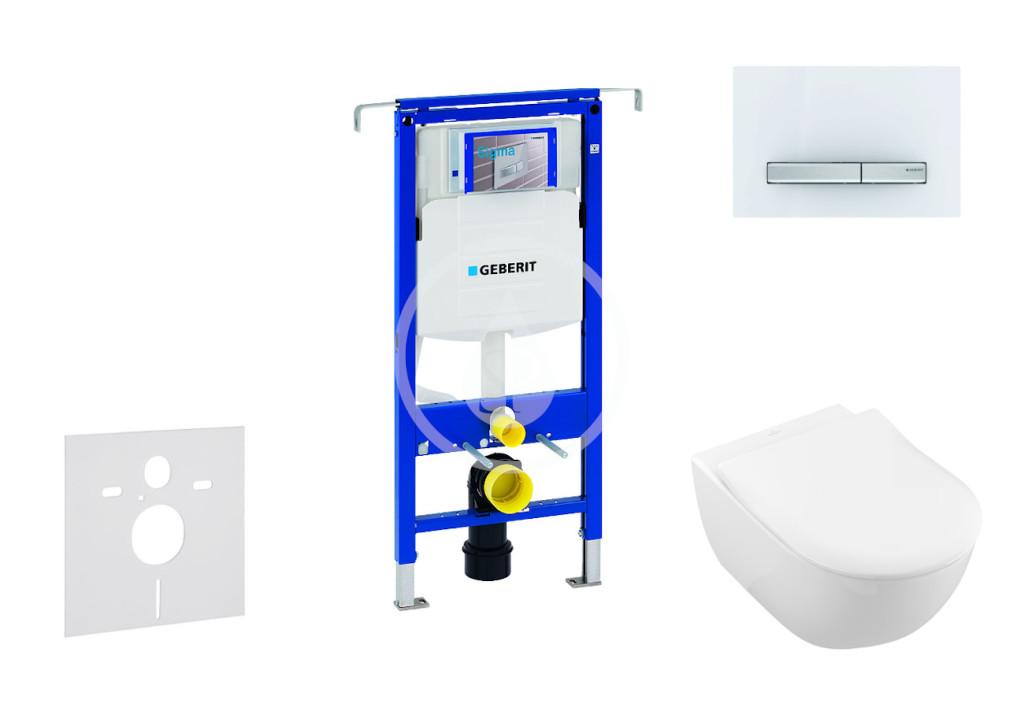 GEBERIT - Duofix Modul na závesné WC s tlačidlom Sigma50, alpská biela + Villeroy Boch - WC a doska, DirectFlush, SoftClose, CeramicPlus 111.355.00.5 NI8
