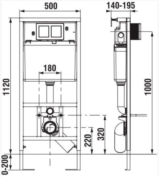 predstenový inštalačný systém bez tlačidla + WC CERSANIT CLEANON CARINA + SEDADLO (H895652 X CA1)