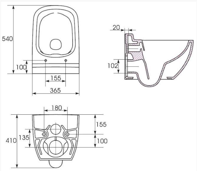 predstenový inštalačný systém bez tlačidla + WC CERSANIT CLEANON CASPIA + SEDADLO (H895652 X CP1)