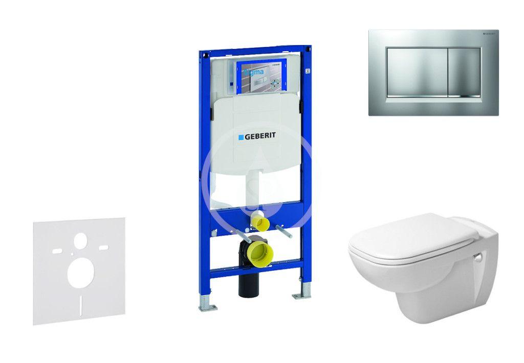 GEBERIT - Duofix Modul na závesné WC s tlačidlom Sigma30, matný chróm/chróm + Duravit D-Code - WC a doska, Rimless, SoftClose 111.300.00.5 NH7
