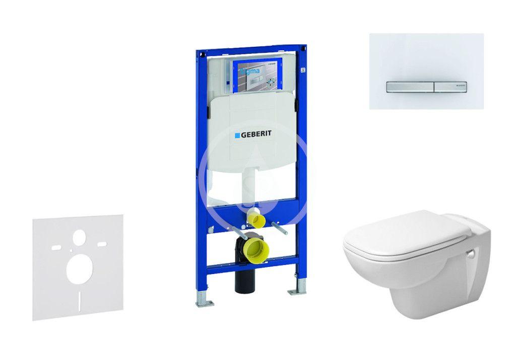 GEBERIT - Duofix Modul na závesné WC s tlačidlom Sigma50, alpská biela + Duravit D-Code - WC a doska, Rimless, SoftClose 111.300.00.5 NH8