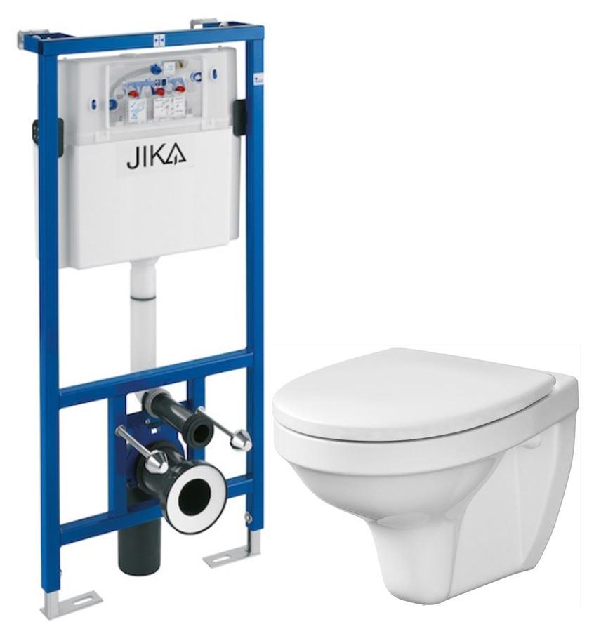 JIKA - předstěnový instalační systém bez tlačítka + WC CERSANIT DELFI + SEDÁTKO (H895652 X DE1)