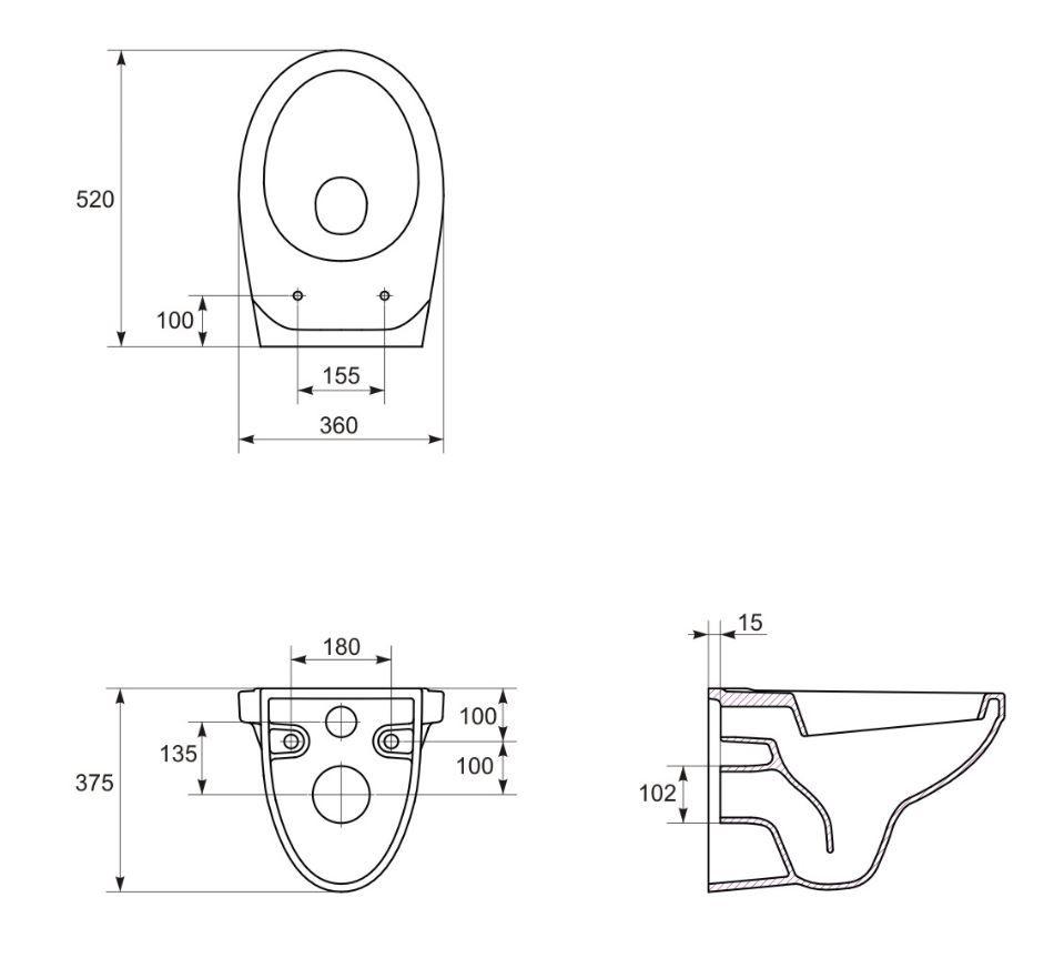 predstenový inštalačný systém bez tlačidla + WC CERSANIT DELFI + SEDADLO (H895652 X DE1)