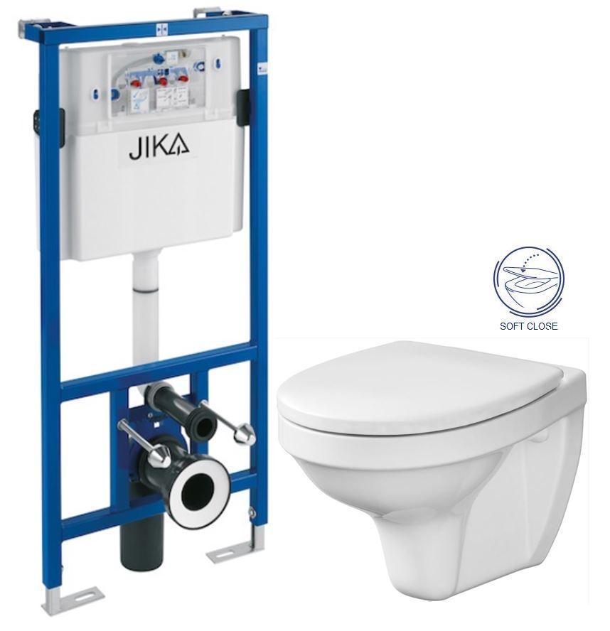 JIKA - předstěnový instalační systém bez tlačítka + WC CERSANIT DELFI + SOFT SEDÁTKO (H895652 X DE2)
